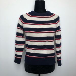 J Crew Italian Cashmere Striped Crew Neck Sweater